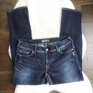 Silver Suki Slim Dark Wash Contrast Stitch Jeans